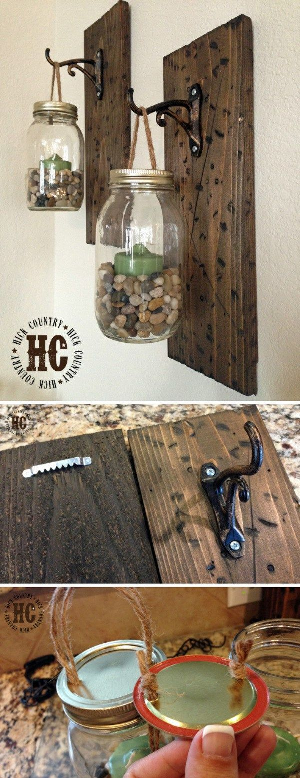 Rustic DIY Mason Jar Wall Lanterns: