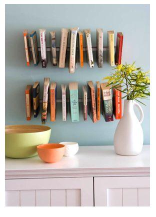 "Rangements #livres dans la ""cuisine - pretty cookbooks all in a row"