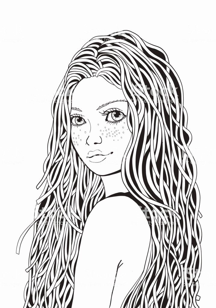 Printable Coloring Page Natural Beauty Girl by ColorByCulture ... | 1024x717