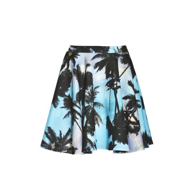 NaughtyDog SS15 scuba skirt decorated with palm prints.