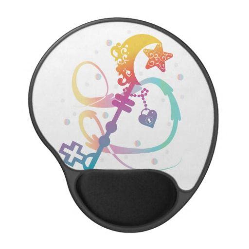 Cute Rainbow Silhouette Heart Moon Key With Locket Gel Mouse Pad