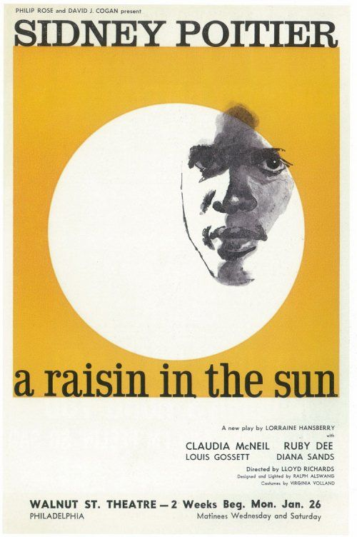 A poster from the 1959 Broadway production of A RAISIN IN THE SUN, starring Sidney Poitier. Patricia McGregor will direct the groundbreaking Lorraine Hansberry play for us this May and June.: Theatres, Art Movement, 500 000 Poster, Plays Poster, Raisins, Movies, Sun Masterprint, Black History, Broadway Plays