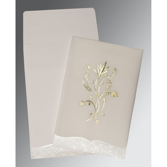 wedding invitation wording for hindu marriage%0A Ivory floral themed  foil stamped wedding invitations   cd
