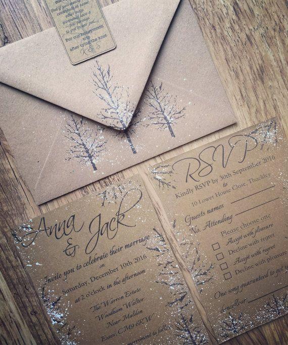 Neve inverno inviti matrimonio, inviti matrimonio inverno fatti a mano, matrimonio, inverno nozze invito rustico, Kraft invito