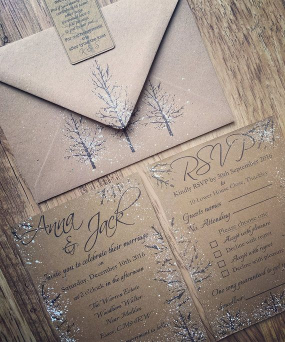 Winter Wedding Invitations Handmade Winter Wedding by QuaintlyKate