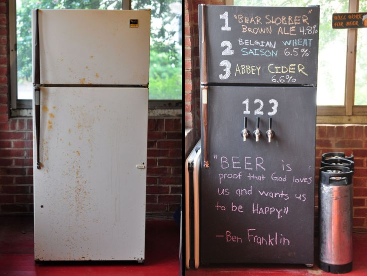 Turn your old ugly fridge into a beer tap complete with a chalkboard for writing a menu.