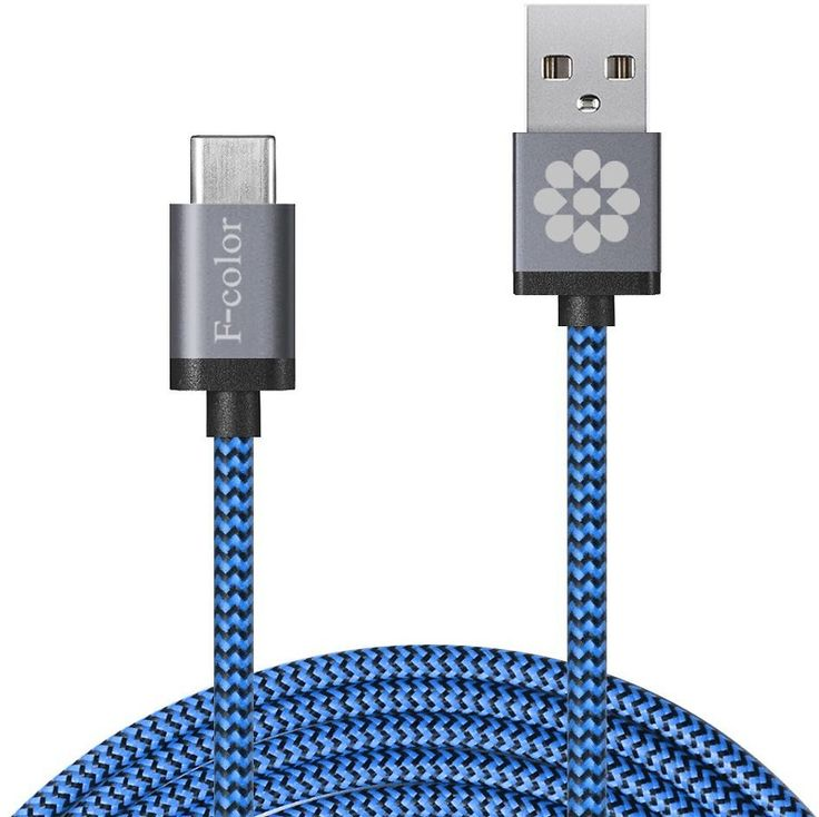"""Type C, 6.6ft Long F-color Braided Reversible USB C To 2.0 USB A Male Charger For Nexus 6P 5X, OnePlus 2, LG G5, New MacBook 12"""", Lumia 950 / 950 XL, Nokia N1, Google Pixel C Asus Zen AiO Zuk Z1 Grey"""