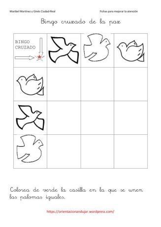 Activitats pel Dia de la Pau: La Paz1, 3X3 Por, Cruzado 3X3, By, Da Paz, Día Paz, La Paz 1, Day, Bingo Cruzado