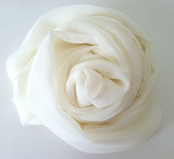 Soft and Elegant Chiffon Infinity Scarf in Creamy White! Summer Infinity Scarf  Silky Chiffon Scarf Creamy Off by mizzeztee, $25.00