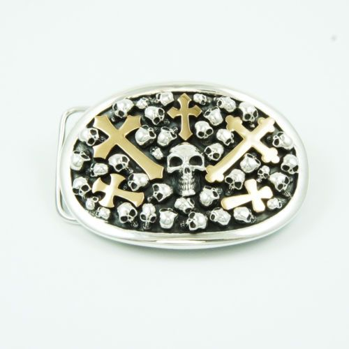 OVAL GRAVEYARD CROSS & SKULL925 STERLING SIVER HANDCRAFTED BIKE BUCKLE jo-bc1