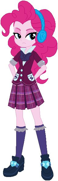 #1384308 - artist:ra1nb0wk1tty, base used, clothes, crystal prep academy uniform, equestria girls, headphones, pink, pinkie pie, safe, school uniform, serious, simple background, solo, unamused, white background - Derpibooru - My Little Pony: Friendship is Magic Imageboard