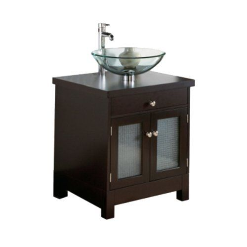 Pegasus PE714108 24-Inch Vessel Vanity with Glass Doors, Dark Red Mahogany by Pegasus. $510.30. From the Manufacturer                Pegasus 24-Inch Vessel Vanity with Glass Doors in Dark Red Mahogany # PE714108. The Baybry vanity is an eclectic blend of style and sophistication. The dark red mahogany finished vanity features wired mesh inlaid glass doors that are tempered for safety. Cabinet and drawer provide plenty of storage. Faucet and vessel sold separately. Meas...