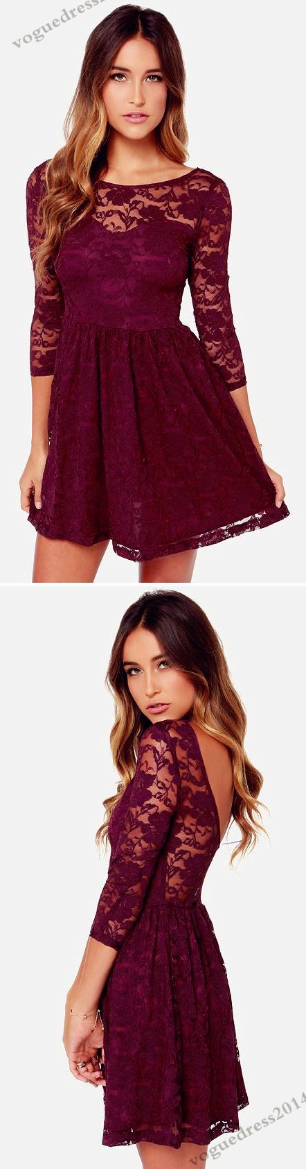 Our Song Burgundy Lace Dress