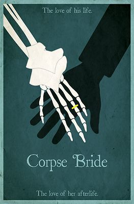 Corpse Bride Minimalist Poster Design - These trendy minimalist movie posters are popping up everywhere. Heres our take on a classic. This Corpse Bride poster features the happy couple holding hand