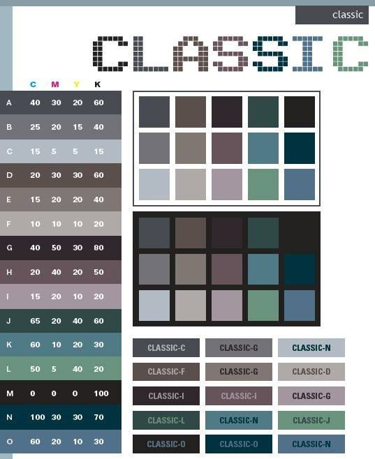 Art Deco color schemes, color combinations, color palettes for print (CMYK)  and Web (RGB + HTML)