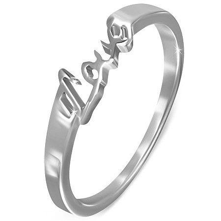 Stalen 316L dames ring met de tekst LOVE - Maat 16