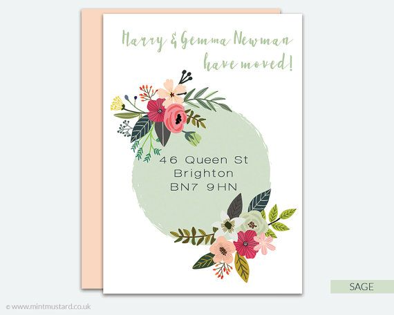 Change of Address Printable Card | Modern Florals | Moving Announcement | New…