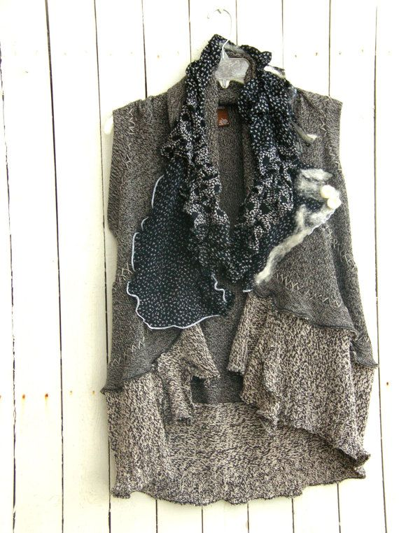 JacketsbyJahne - reconstructed sweater vest with nuno felt accents