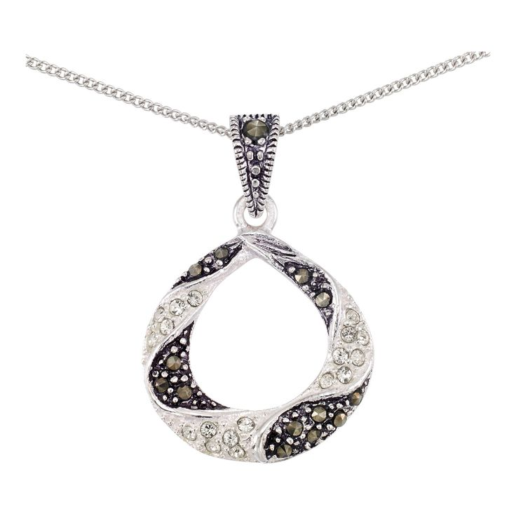 Marcasite Oval Pendant on Chain-Sterling Silver, Women's, Light Silver