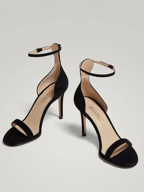 Negra Tacon Mujer Sandalias Zapatos De Sandalia Piel Tacón PZkiXu