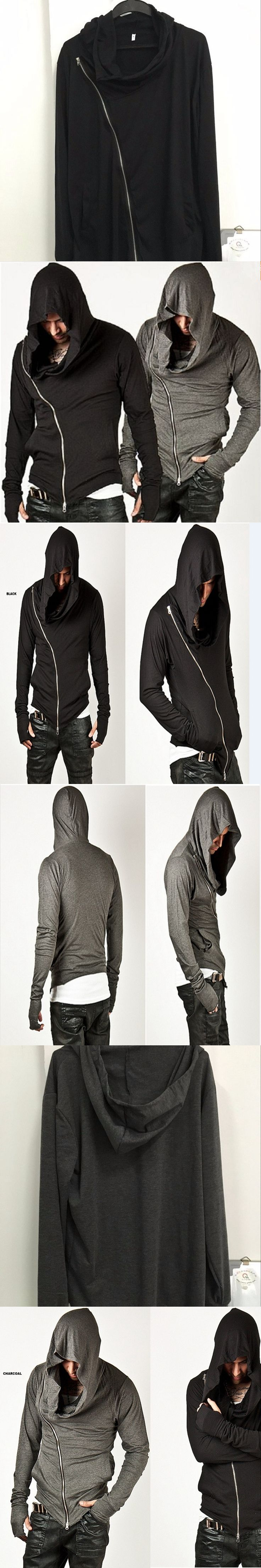 2017 Fashion Coat loose Large Size Men's Sportswear Jacket Unbeatable Arm Warmer Diagonal Zip Mens Assassin Creed Hoodie