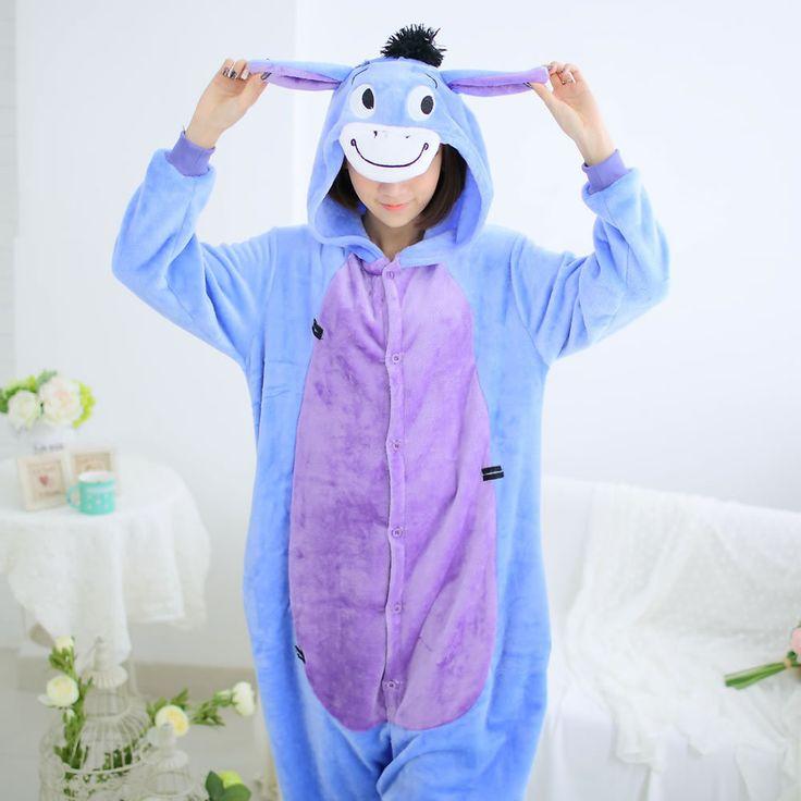 Flannel family animal pajamas one piece onsies onesies cosplay pijama burro donkey pigiama pyjama pijamas enteros de animales