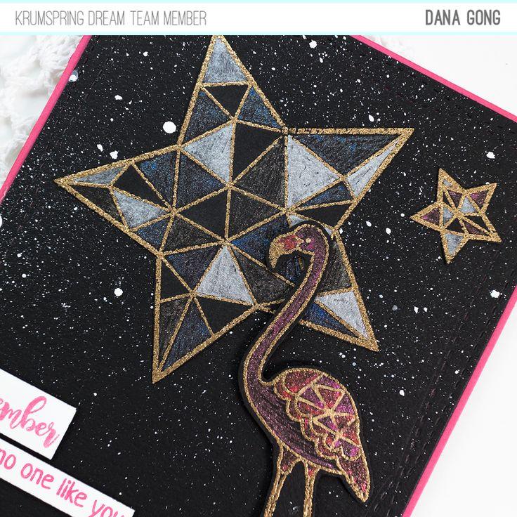 Krumspring stamps Star Power stamp set, Flamingo Fever stamp set, card making, card maker, #DanaCardDesign