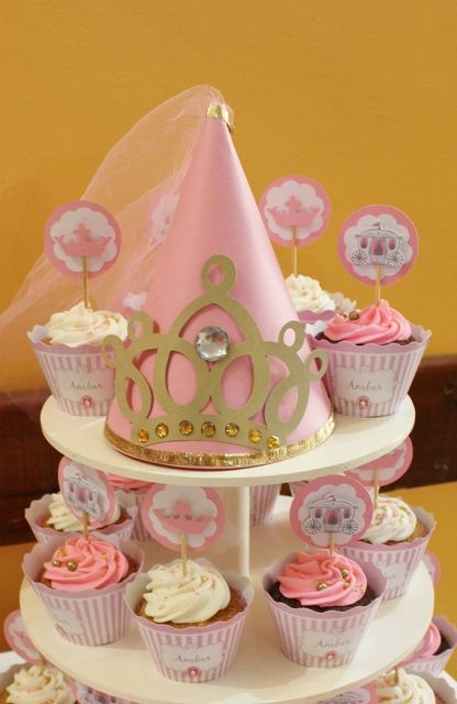 Pretty cupcake display at a Princess birthday party! See more party ideas at CatchMyParty.com!
