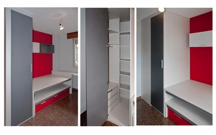 Dormitorio juvenil compuesto por armario cubo de 100 x 100 for Armarios diseno italiano