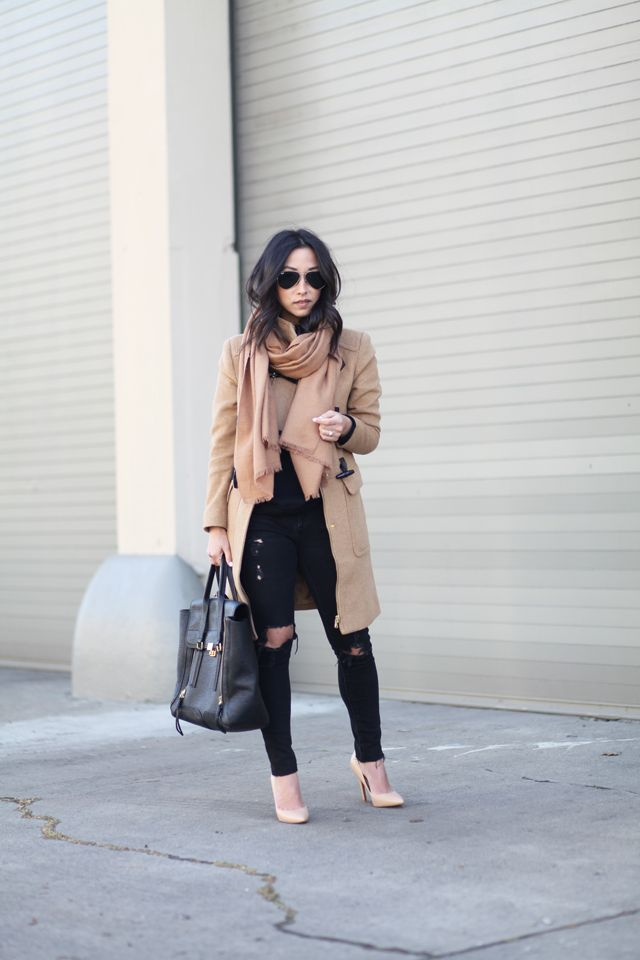H&M sweater // Forever 21 toggle coat // AG distressed ankle jeans // Charles by Charles David pumps // H&M scarf // 3.1 Phillip Lim pashli satchel (large) // Ray-Ban original aviators // Brooklyn Designs necklace