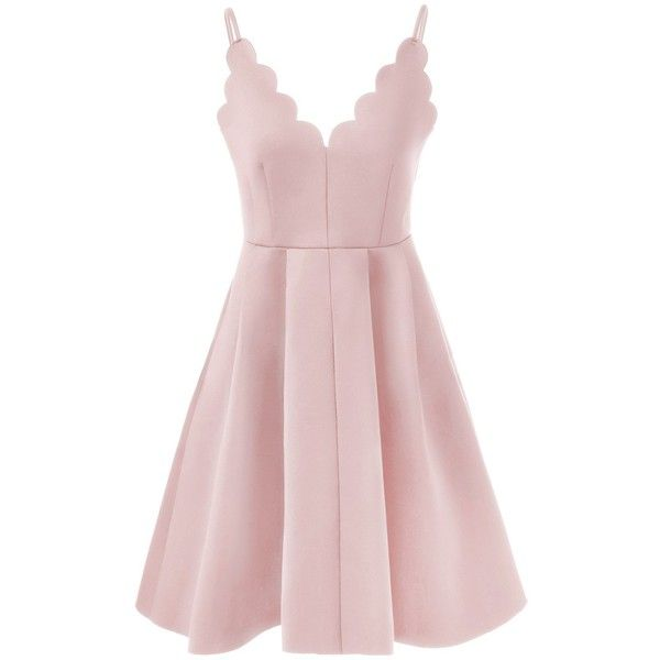 Spaghetti Strap Rippled Edge Open Back Dress ($17) ❤ liked on Polyvore featuring dresses, pink spaghetti strap dress, pink dress, spaghetti strap dress and open back dresses