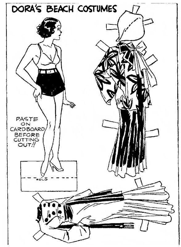 """June 25, 1933.  A DORA paper doll and her beach costumes.  From the comic strip """"Dumb Dora""""."""