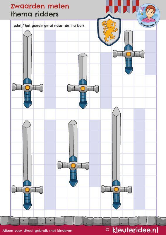 rekenen met kleuters, zwaarden meten, thema ridders, kleuteridee.