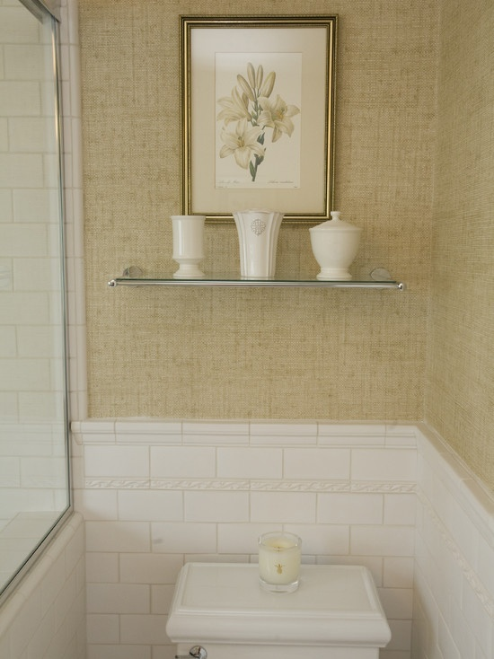 Grasscloth Wallpaper With Both Horizontal And Vertical Texture. Small  Bathroom