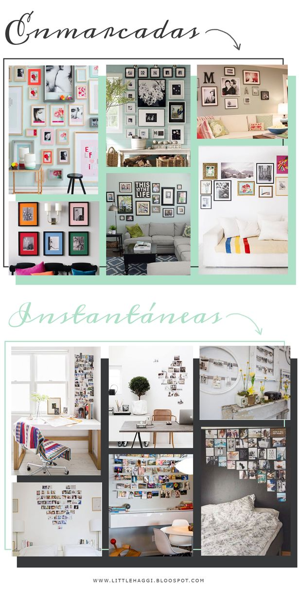 12 ideas to decorate a wall with your own pictures || 12 ideas para decorar con fotografias #home #decoration #photo_collage_wall #polaroid #inspiration