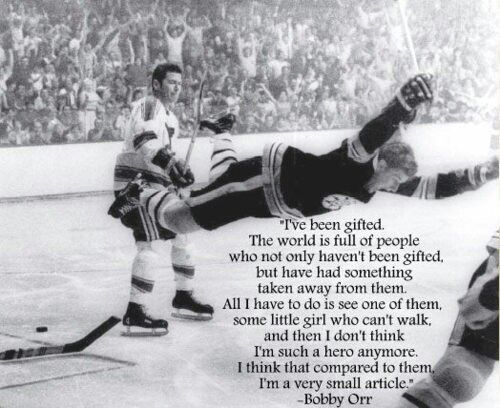 Bobby Orr came to Pittsburgh to promote youth hockey. He signed this photo for everyone there. This quote shows why he is such a class act.