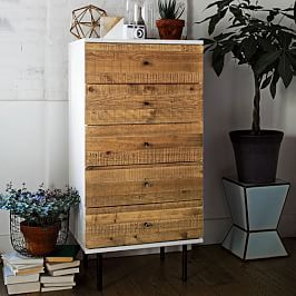 Reclaimed Wood + Lacquer 5-Drawer Dresser