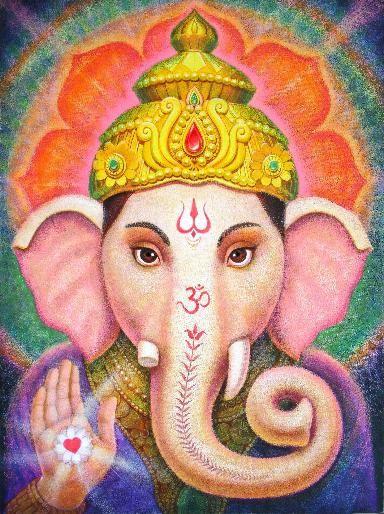 Ganesha Original Painting spiritual art Hindu by HalstenbergStudio, $1800.00