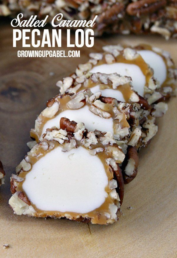 This easy pecan log roll recipe makes great treats to give to teachers, neighbors and friends! A marshmallow center is coated in caramel and rolled in pecans. Easy and fun to make, these pecan logs take less than half an hour of hands on time to make!