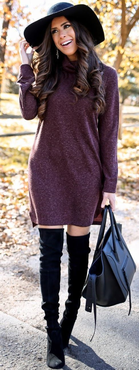 Burgundy Sweater Dress Fall Street Style Inspo by The Sweetest Thing #burgundy