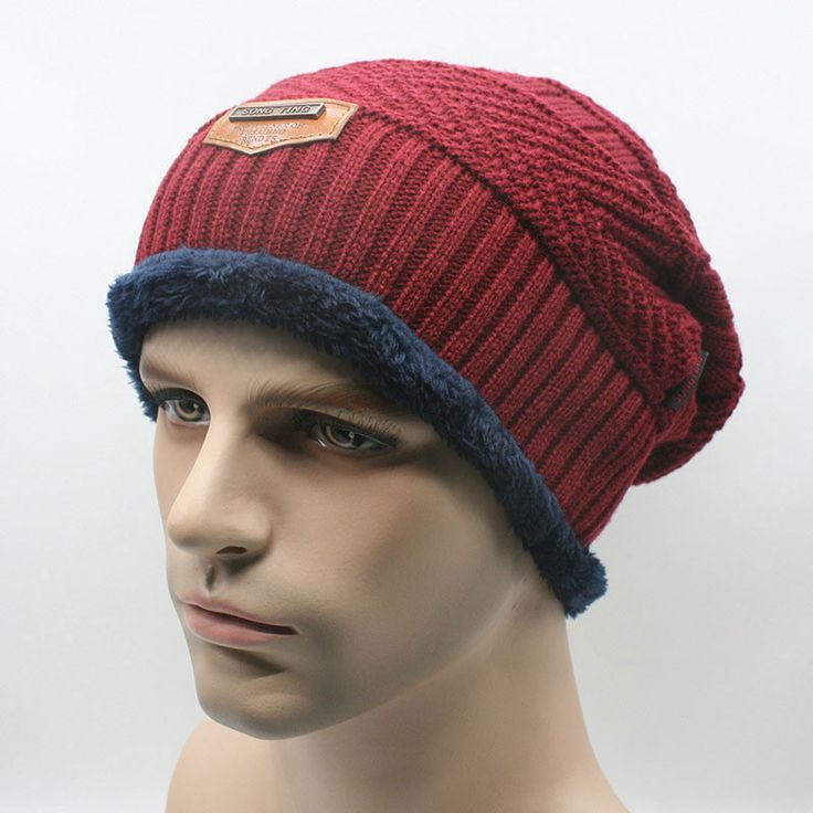 Outdoor Thick Knit Beanie Skull Hats for Men, Warm Poly Fleece Lined Slochy Winter Cap Navy Dark Red Black Gray Brown Khaki
