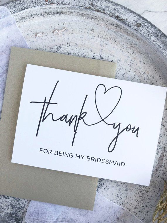Thank You For Being My Bridesmaid Thank You Card Bridesmaid Gift
