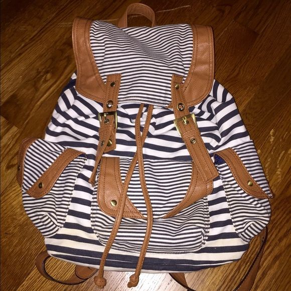 Backpack Striped navy blue and white backpack in amazing condition! Super stylish! Make me an offer! Call It Spring Bags Backpacks
