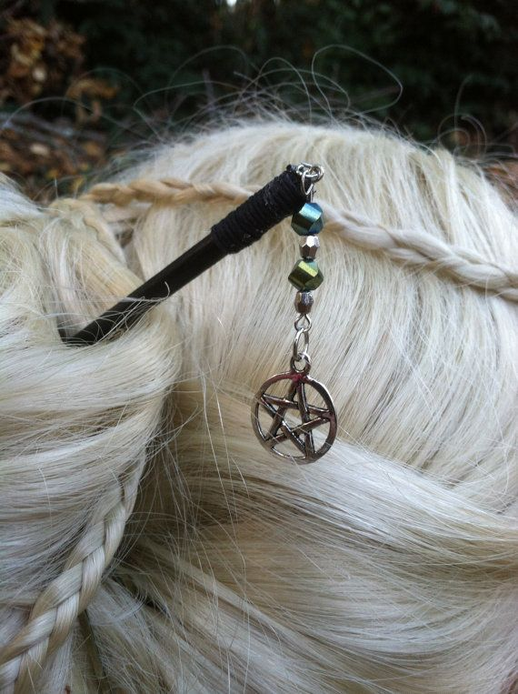 Wicca Wiccan Pagan Spell Peacock & Silver Hair Sticks...by Witch Sisters. $10.00, via Etsy.