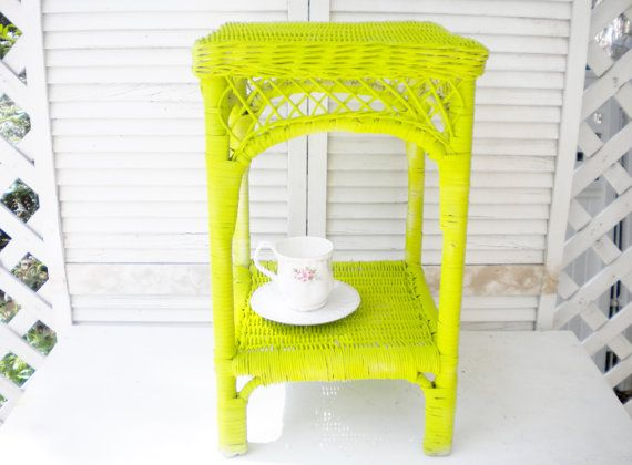Beautiful Vintage Wicker table,Side, Table Shabby Chic Boho Hand Pinted furniture