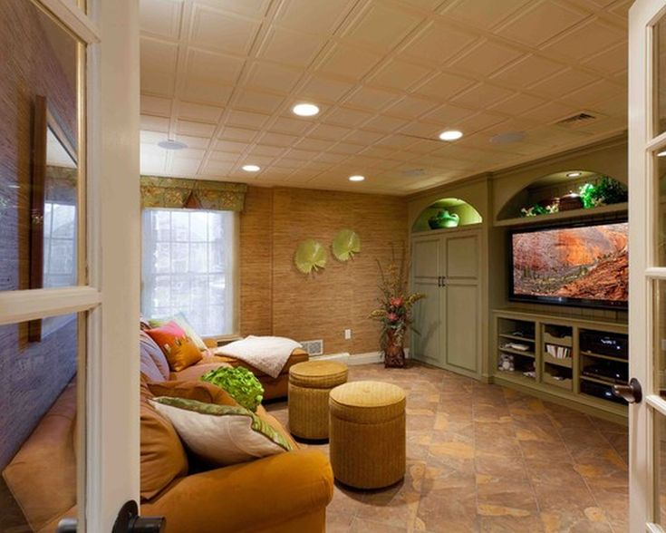 Apartments Exciting Tropical Basement Drop Ceiling Track Lighting Pull Out Media Drawers Natural Stone Floor Yellow Sectional Chair With Round Ottoman Inspiration Awesome Basements Finished : Contemporary Round Kitchen Table Digital Photograph Inspiration - Home Design and Decorating Ideas