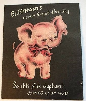 "Vintage 6"" Used Greeting Card Pink Elephant Birthday Card Norcross"
