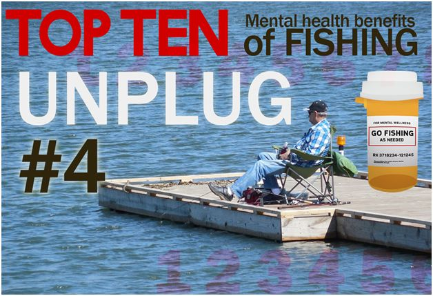 #4 Out of Top 10 Fishing Health Benefits: #Unplug  Fishing offers a great opportunity to step away from the electronic media and and enjoy some good old fashioned no screen time. Benefits of occasional unplugging include stress reduction and even strengthening the immune system.    https://link.springer.com/article/10.1007/s10902-010-9218-6