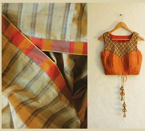 Cotton silk saree and blouse design