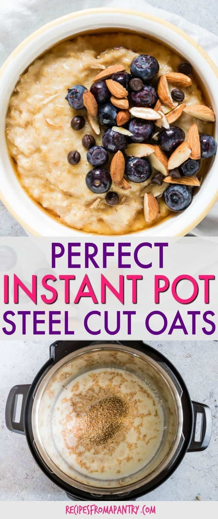 This EASY Instant Pot Steel Cut Oats recipe will make you excited for breakfast. Ready in just about 30 mins total, it makes a perfect Instant Pot breakfast recipe. #oats #oatmeal #instantpot #breakfast #steelcutoats #steelcutoatmeal #instantpotsteelcutoats via @recipespantry